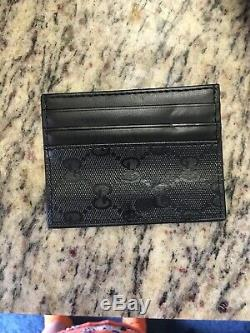 NWT Gucci Mens Black Signature Leather Micro GG Card Case Card Holder