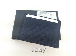 NWT Gucci Mens Navy Blue Signature Leather 233166 Micro GG Card Case Card Holder