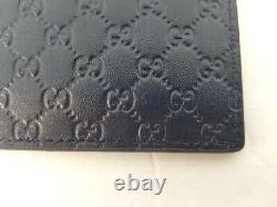 NWT Gucci Mens Navy Blue Signature Leather Micro GG Card Case Card Holder