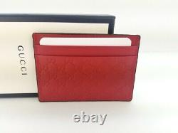 NWT Gucci Red Rosso Signature Leather Micro GG 476010 Card Case Card Holder