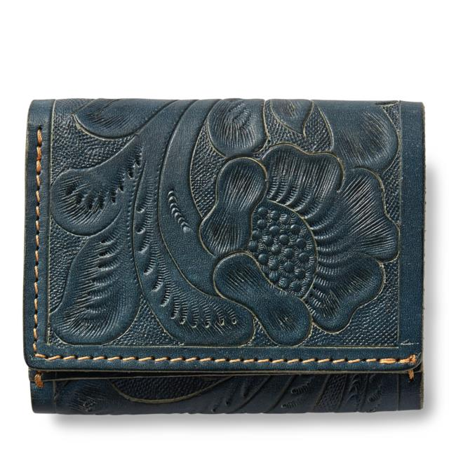 Nwt Rrl Ralph Lauren Hand Tooled Indigo Tanned Leather Wallet