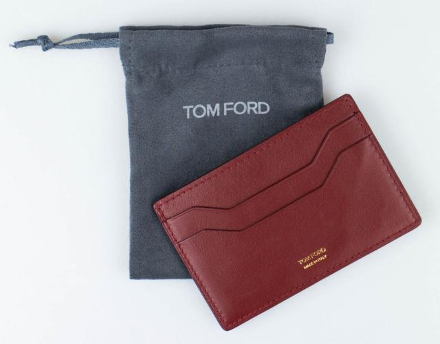Nwt Tom Ford Auburn Brown Smooth 100% Leather Id Card Holder Wallet $250