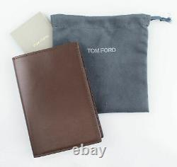 NWT TOM FORD Brown Smooth 100% Leather Bifold Card Holder Wallet $390