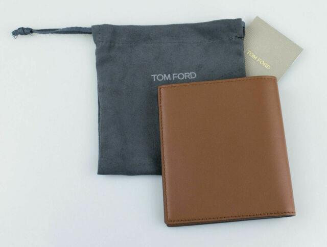 Nwt Tom Ford Chocolate Brown Smooth 100% Leather Bifold Card Holder Wallet $450
