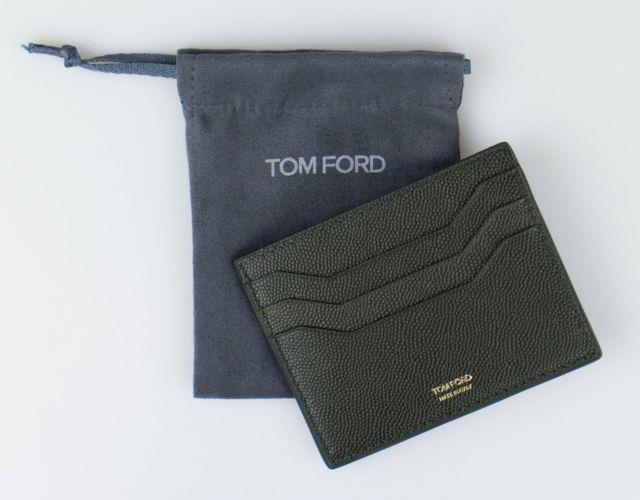 Nwt Tom Ford Green 100% Small Grained Leather Open Side Card Holder Wallet $290