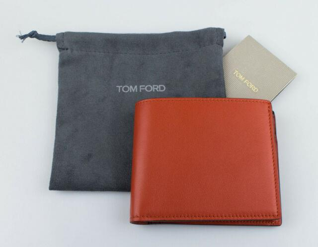 Nwt Tom Ford Orange Smooth Leather Bifold With Coin Pocket Card Holder Wallet $400