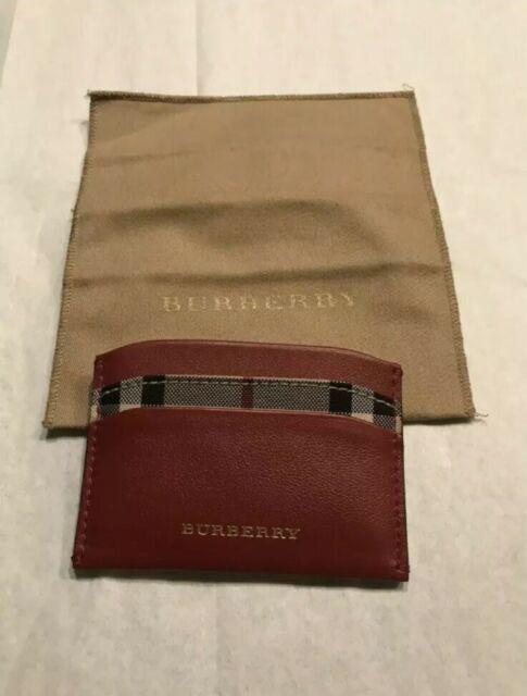 New Auth Burberry Red Unisex Leather Nova Check Plaid Logo Cc Holder Wallet $295