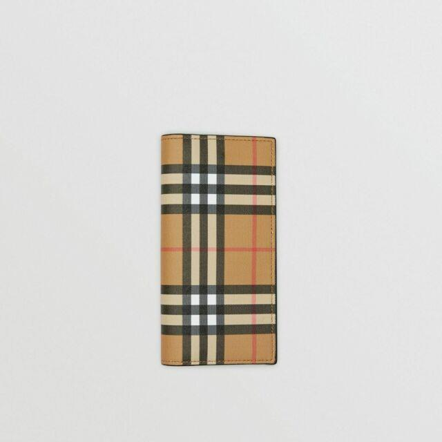 New Authentic Burberry Vintage Check And Leather Continental Men's Wallet