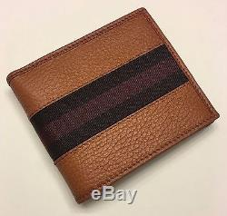 New Authentic GUCCI Mens Leather Bifold Wallet withRed/Dark Red/ Web 7663
