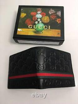 New Authentic Gucci GG Style Men's Black Bifold wallet