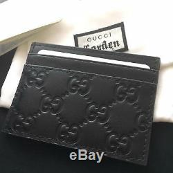 New Authentic Gucci Gg Web Card Holder Black Leather Men Wallet Case Purse