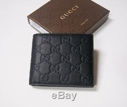 b4514446828b New Authentic Men's Gucci Avel Black Guccissima Leather Bifold Wallet
