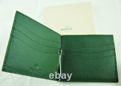 New Authentic Stamped Rolex Green Leather Wallet Credit Card Holder Money Clip