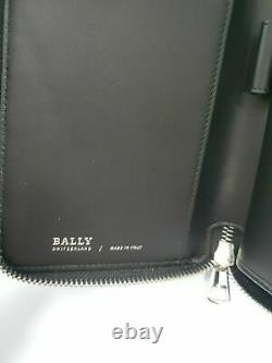 New Bally Mens Sevyn Zippered Long Wallet Black Calf Grained Leather Made Italy