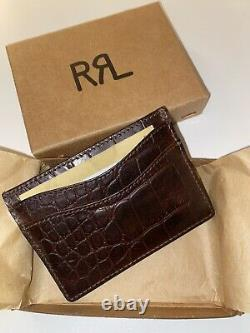 New Double RL Ralph Lauren RRL Brown leather Wallet card holder Gift Box