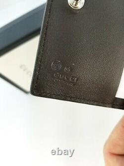 New Gucci 544475 Dark Brown Micro GG Small Card Case Folio Wallet WithSnap Close
