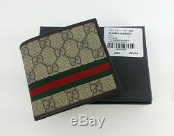 New Gucci Authentic Ebony Bi fold Web Strip Guccissima Wallet with Coin Pocket