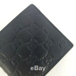 New Gucci Authentic Mens Black Bi fold Guccissima Wallet with Coin Pocket withBox
