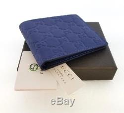 New Gucci Authentic Mens Blue Bi fold Guccissima Wallet with Box