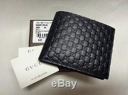 b1ac8916313be4 New Gucci Authentic Mens Blue Bi Fold Micro Guccissima Wallet Withbox 260987