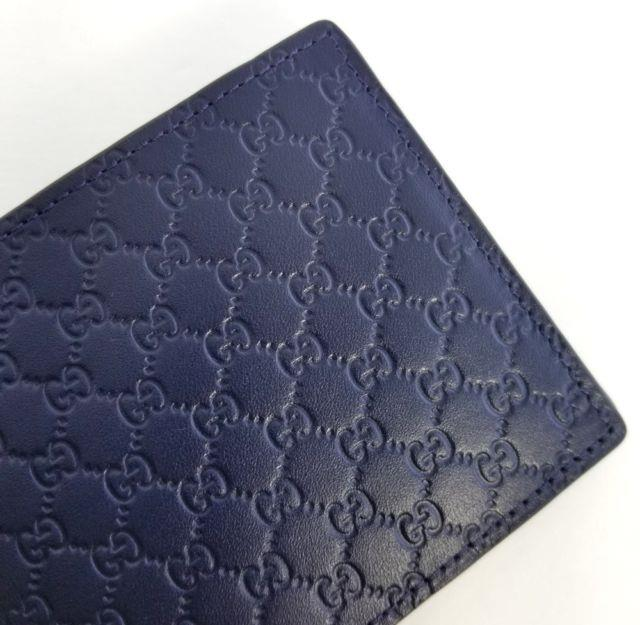 New Gucci Authentic Mens Blue Navy Micro Guccissima Bi Fold Wallet With Box