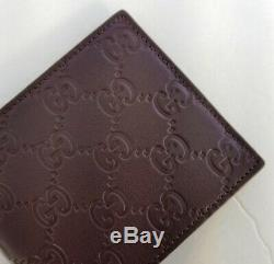 New Gucci Authentic Mens Brown Bi fold Guccissima Wallet with Box