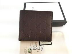 New Gucci Authentic Mens Brown Bi fold Guccissima Wallet with Coin Pocket withBox