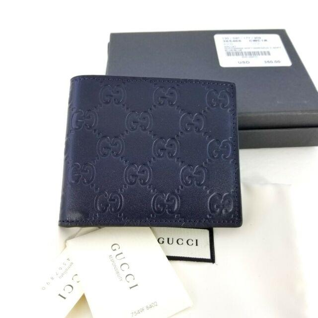New Gucci Authentic Mens Navy Blue Bi Fold Guccissima Wallet With Box