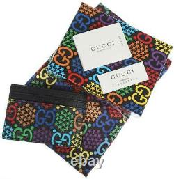 New Gucci Gg Psychedelic-print Leather Card Holder Wallet Nwb Unisex