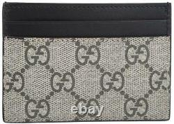 New Gucci Gg Supreme Canvas Leather Kingsnake Print Card Case Wallet