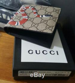 New Gucci Kingsnake Print GG Wallet Ebony Beige Leather Bifold Wallet with Box