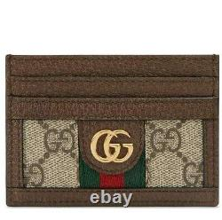 New Gucci Ophidia Gg Web Supreme Canvas Leather Card Case Holder