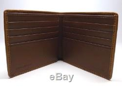 New Men's Burberry Brown Leather House Check Small Bifold Wallet