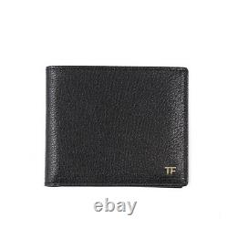 New TOM FORD Glossy Black Grained Leather Bifold Wallet with Gold Logo