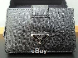 73c4954282ef Prada Saffiano Leather Card Holder Case Wallet Black 5 Slots Accordion Style