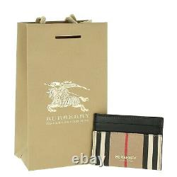 RRP 200$ New Burberry Credit Cardholder 100% Authentic Leather Checkered Pattern