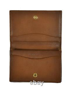 Ralph Lauren Purple Label Brown Leather Gusseted Card Case Wallet New $350