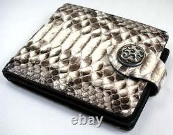 Real Genuine Python Snake Skin Leather Wallet Flame Sterling Silver Snap New