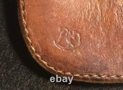Red Moon Long wallet leather brown 1 snap button pocket engraved Redmoon F/S