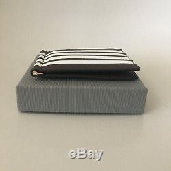 THOM BROWNE Leather Wallet Money Clip Card Holder 4 Bar Striped Pebble $800 NEW