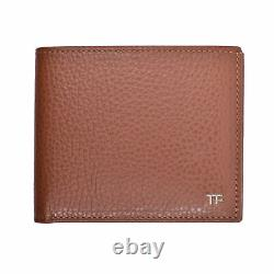 TOM FORD BROWN LEATHER BIFOLD WALLET with 8 SLOT CARD HOLDER NEW
