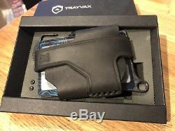 Trayvax Contour EDC Wallet Stealth Black With Black Obsidian Stainless Frame