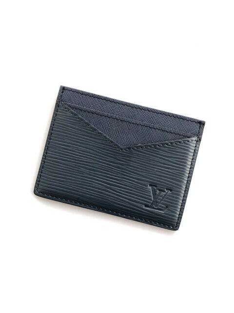 Used Lv Blue Card Holder Epi Leather Louis Vuitton
