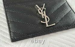 YSL Black Monogram Quilted Grained Leather Card Holder SLG With Box